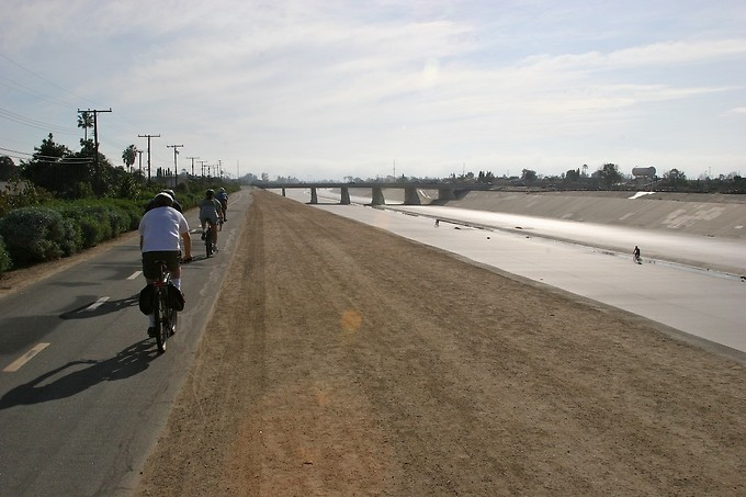 We rode along the Santa Ana River Basin.