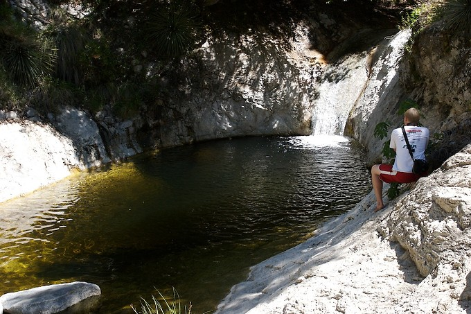 This was one of the best pools, with a natural water slide which you can see at the top where the water flows in.  The rock is quite smooth, and is partially moss-covered, so it's perfect for sliding down into the pool (either feet first, or headfirst).