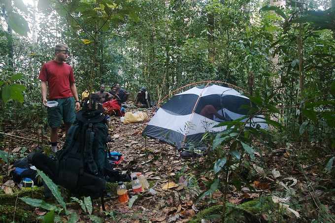 Camping in the jungle on Day 8. This was a tough night, which we weren't prepared to spend out. Thankfully, God provided us with enough water and food, and the Sera men caught a morning meal the next day ...