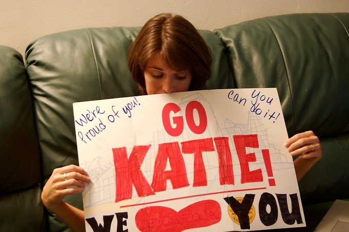 The sign Erica made that we used to cheer Katie on.