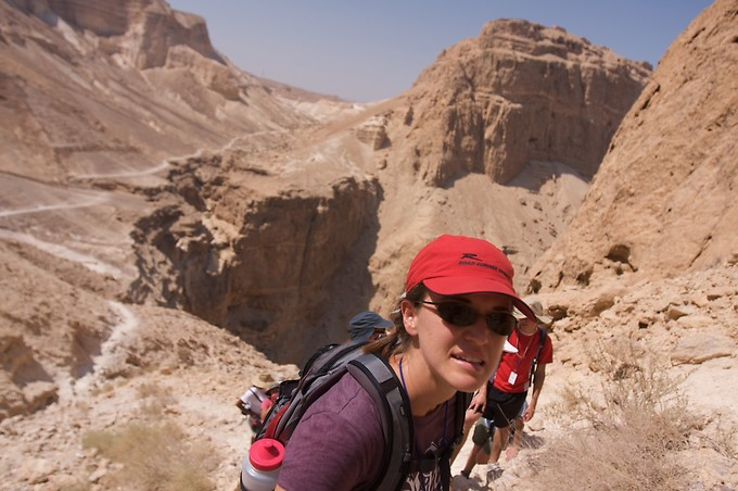 Hiking up Mt. Elezar next to Masada.