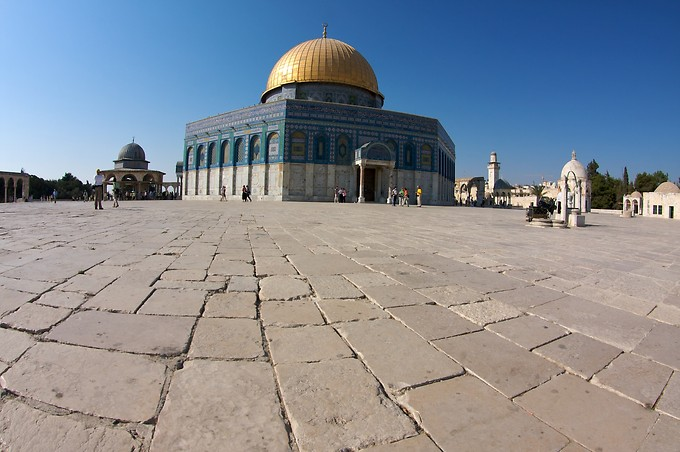 Temple Mount (Mt. Moriah), where Abraham prepared Isaac as a sacrifice and God intervened, providing a lamb instead. Also where Solomon built the Temple, and where the Temple stood in Jesus' day. This, however, is the Muslim Dome of the Rock.