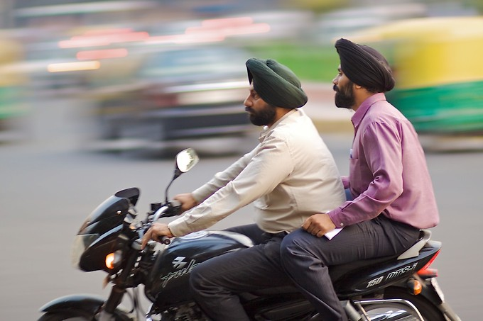 Sikhs riding the streets of Delhi