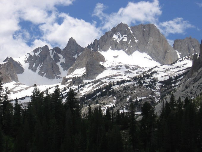 Matterhorn Peak is the jagged one by itself toward the left in this shot of Sawtooth Ridge