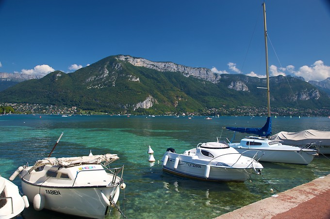 Our first stop: Annecy, France. This is beautiful Lake Annecy, which somehow managed to have both a tropical clarity and a pristine mountain cleanness and coolness. We enjoyed swimming in it!