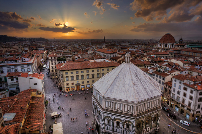 The Baptistry and Piazza del Duomo at sunset.