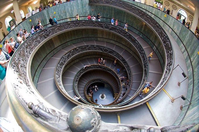 This staircase inside the Vatican Museum was built so that horses could go up and down them. (For 100 points, can you find Daniel in this shot?)