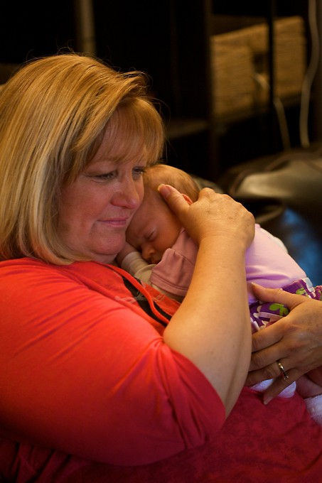 Snuggle time with Nana. Katie's family came up to celebrate Christmas with us the following week.
