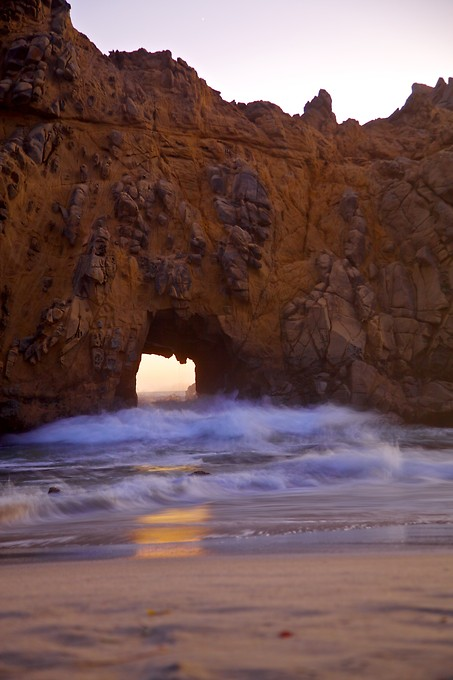 Pfeiffer Beach in northern Big Sur, just after sunset.