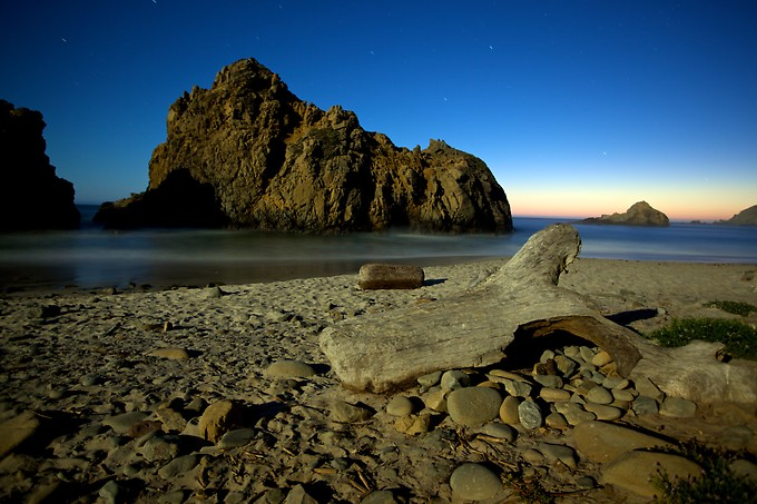 Pfeiffer Beach by moonlight.