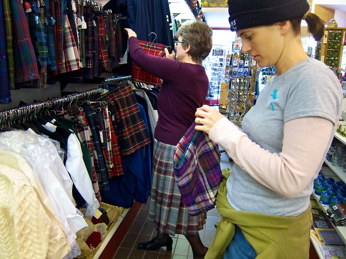 Daniel's father traces back his lineage to the MacDonalds of Scotland. In Inverness, Katie found a kilt for Naomi in the MacDonald dress tartan.