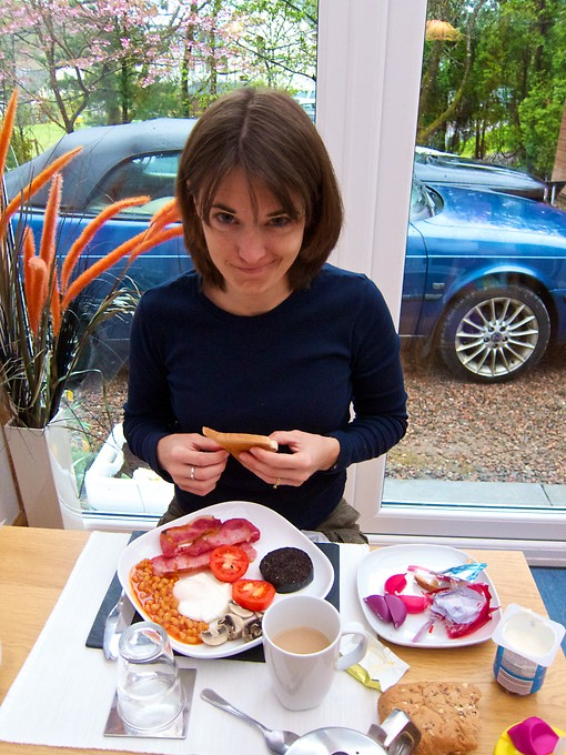 We placed our orders for breakfast at our B&B the night before. While talking with the host, Katie was encouraged to try black pudding - another Scottish specialty. Easier to be brave when you're not looking at it...