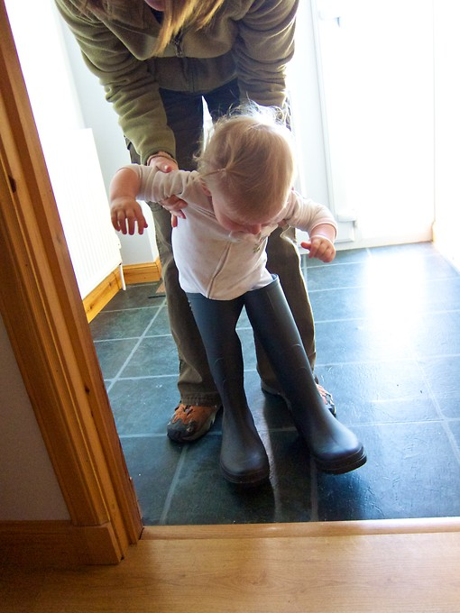 Naomi insisted on trying on the wellies of our B&B hostess.