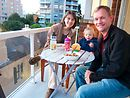 Dinner outside on the balcony - Naomi's preferred place (Daddy's too).