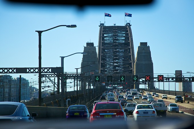 Crossing the Harbour Bridge.