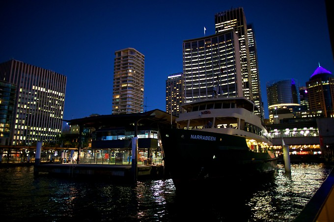 Coming into Circular Quay, the main wharf.