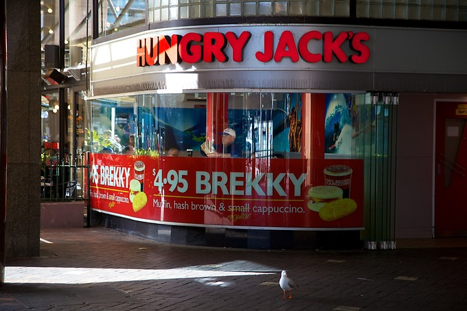 Hungry Jack's is basically Burger King, if you can't already tell by the font. When Burger King expanded into Australia, there was already a small chain by the same name so they weren't allowed to use that name; instead they called themselves Hungry Jack's.