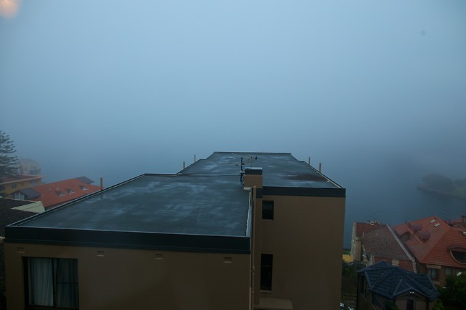 The view from our apartment on a foggy day.