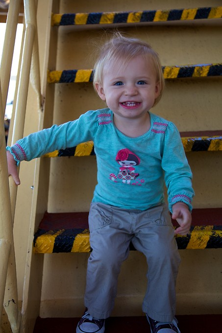 This girl loves exploring on the ferry. We suspect she will be disappointed upon returning to the US to realize car seats are still required for her to get from place to place.