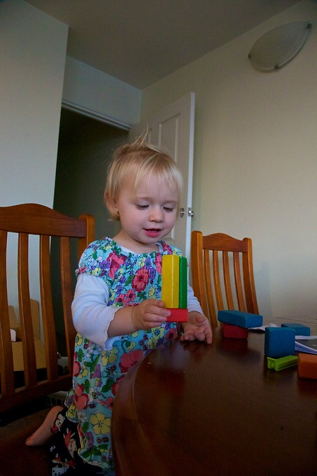 Building with blocks (or bocks!) at home.