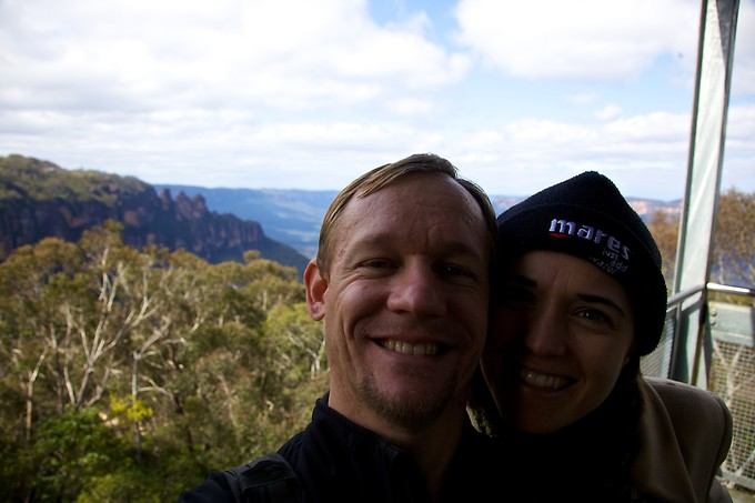 In the Blue Mountains, with the Three Sisters in the background.