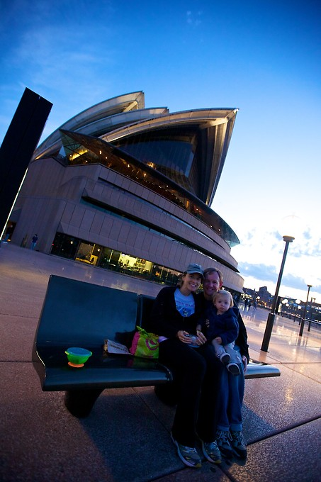 Picnic dinner by the Opera House.
